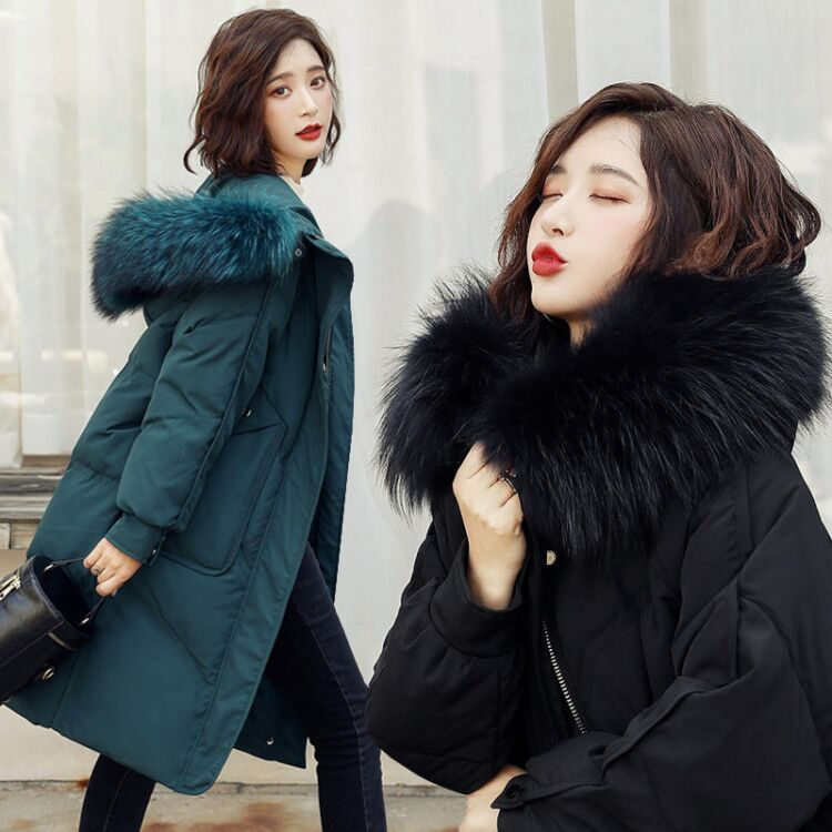 Danyu Ailey down jacket womens winter 2020 new fashion real hair collar mid long Canadian Parka Coat trend