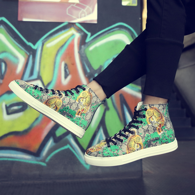 Autumn European station personalized tiger print high top board shoes mens Korean fashion casual casual hip hop hip hop dance shoes