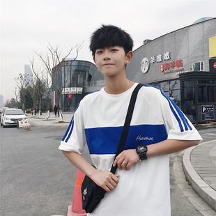 港風寬鬆ins拼色短袖T恤夏季韓版男生體恤衫潮牌網紅文藝半袖衣服