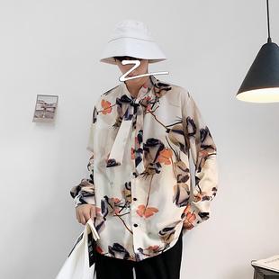 夏季網紅很仙的長袖襯衫男韓版寬鬆潮牌帥氣上衣服潮流學生花襯衣