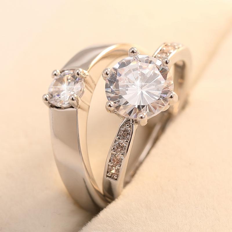 结婚用的假钻戒求婚礼仿真情侣戒指