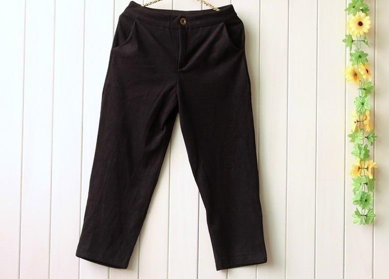 2021秋冬新款年轻时尚百搭加厚羊绒低腰显瘦修腿九分阔腿休闲裤
