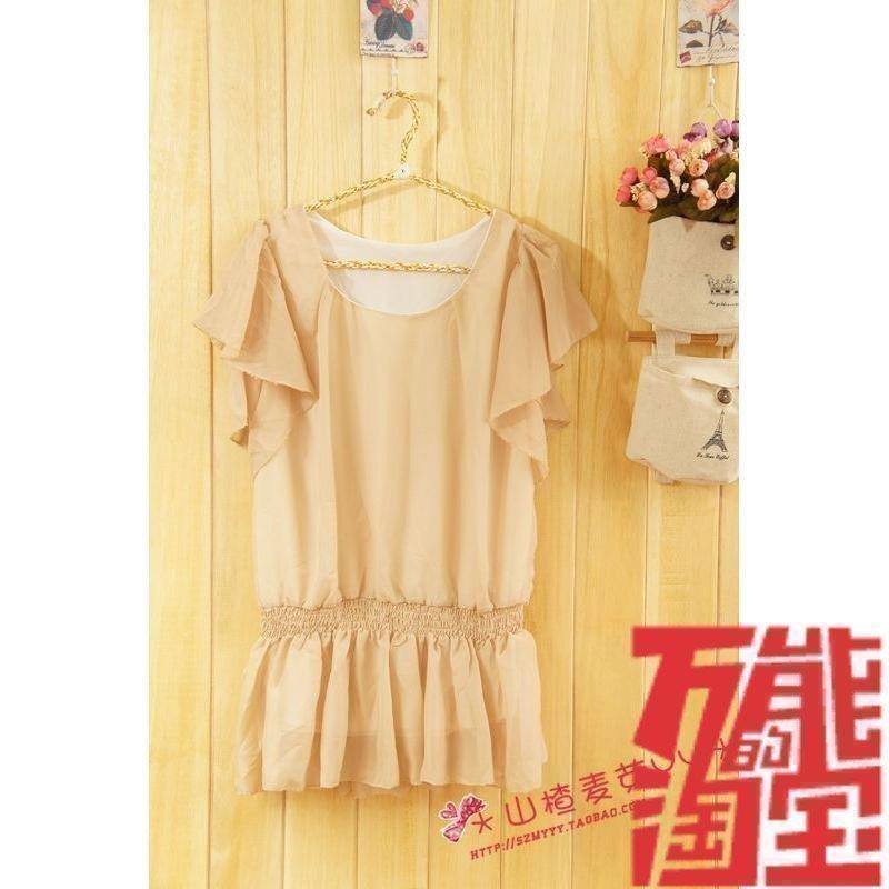 2021 summer new womens commuting loose round neck large Chiffon Shirt Top summer short sleeve Korean medium and long