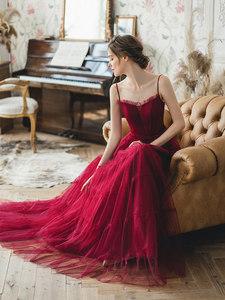 满庭芳【持玫瑰的女孩】新娘女晚礼服