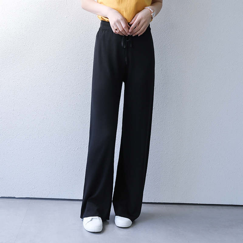Wide leg pants womens high waisted casual loose mop down feel draping foreign style fashion large ice silk summer thin pants