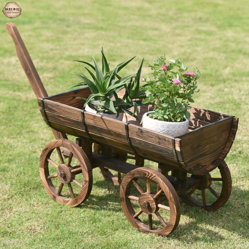户外防腐木四轮木质花车种植花箱碳化木花盆花槽庭院装饰花车花架