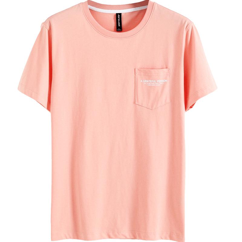 真维斯男装 夏季男士口袋印花体恤圆领纯棉透气修身短袖T恤男上衣