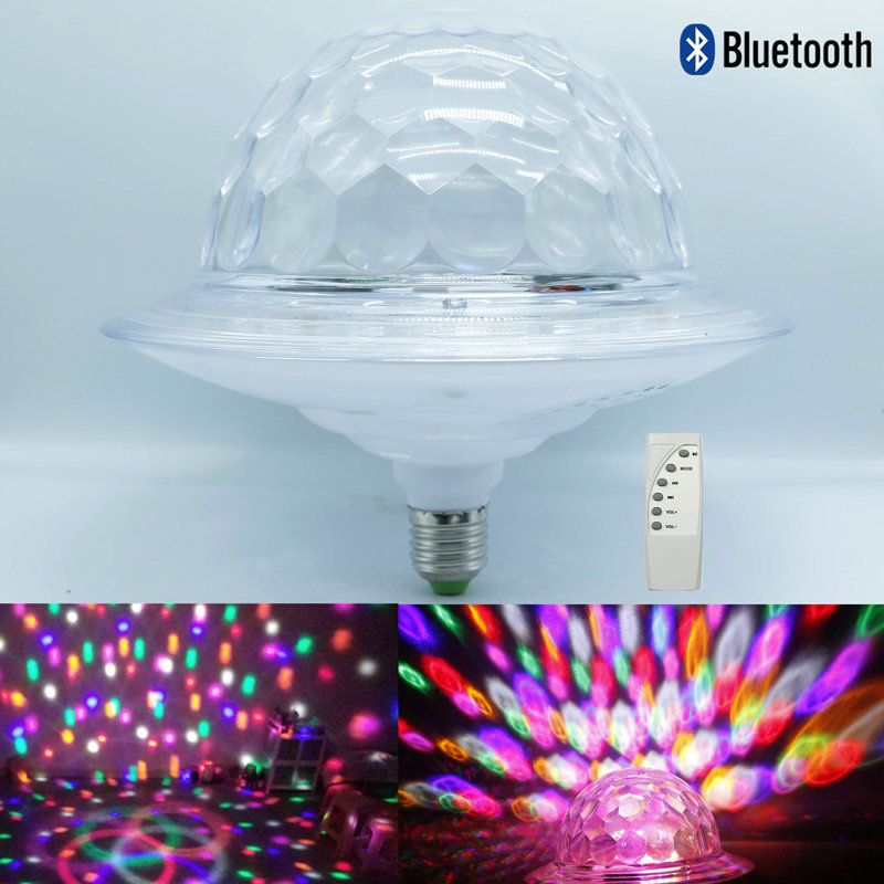 New remote control Bluetooth flying saucer magic ball MP3 music led crystal magic ball stage DJ lamp KTV colorful spin E27