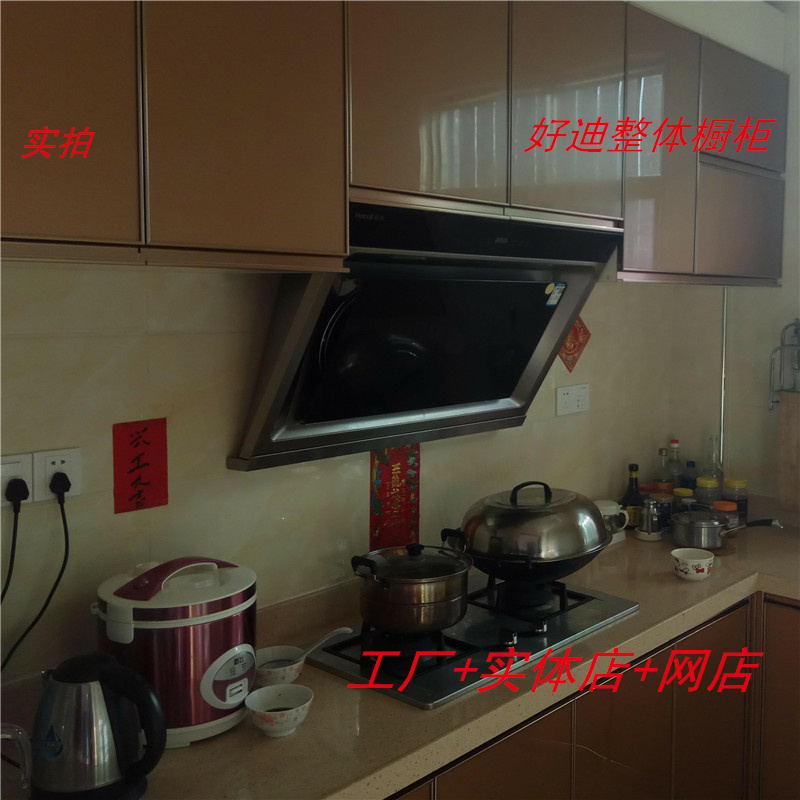 304 stainless steel cabinet customized whole kitchen crystal steel door quartz stone table 1680 yuan M