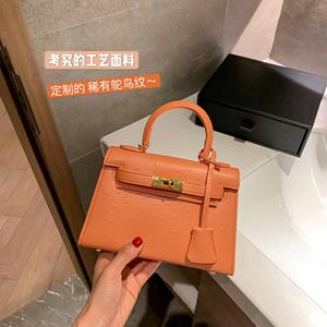 东胜鸵鸟纹二代凯莉包包2021新款潮时尚女包斜挎单肩手提迷你小包