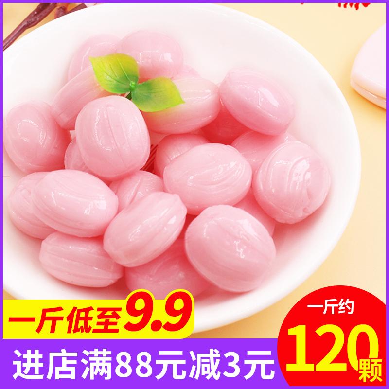 日系の白桃水果汁硬糖500g批发散装招待糖果高颜值零食结婚喜糖果