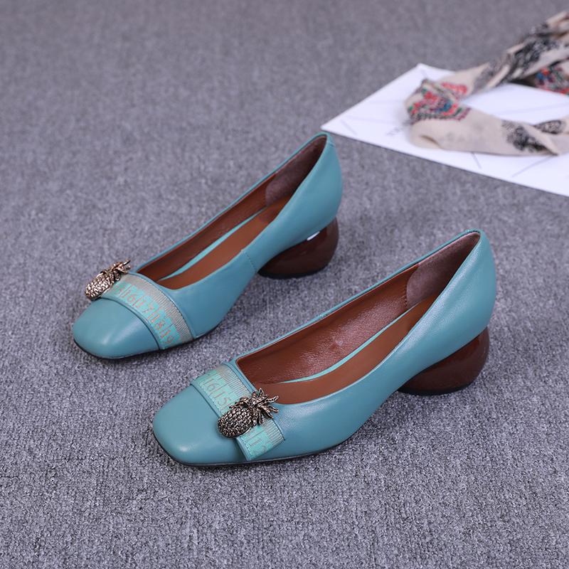 2019秋季新款女鞋真皮方头奶奶鞋浅口粗跟瓢鞋高跟玛丽珍时尚单鞋