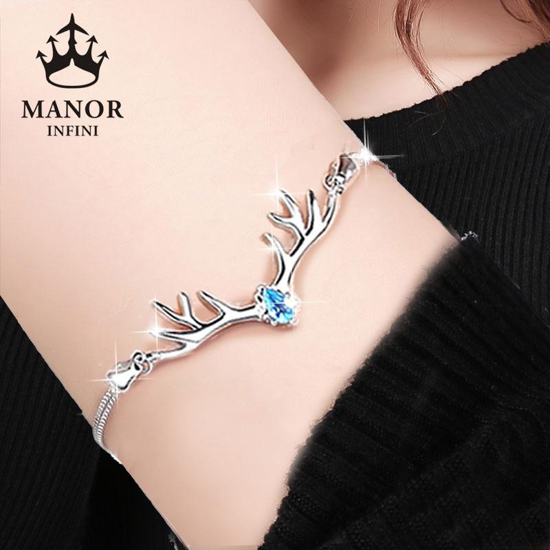 ins小众设计纯银手链韩版女士学生手镯一路情侣一鹿有你麋鹿礼物