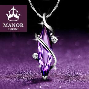 纯银紫水晶女士项链女锁骨链潮网红吊坠银饰七夕情人节送女友礼物