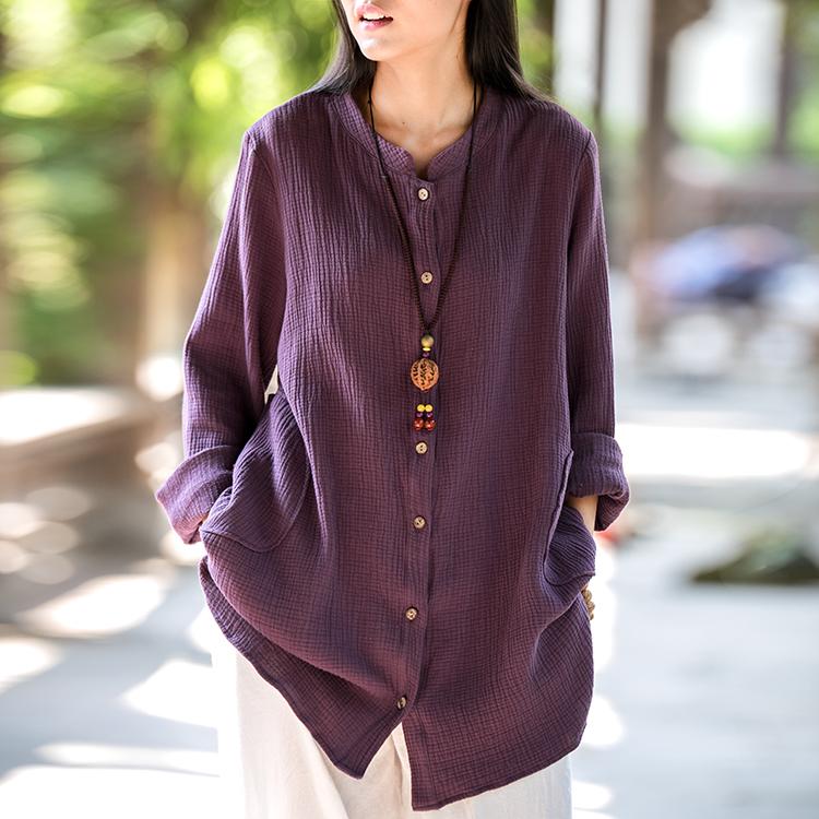 春夏亚棉麻开衫女装大码森女日系外套中长款复古文艺宽松显瘦上衣