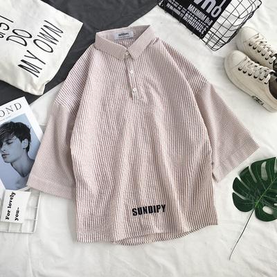 夏季新款条纹免烫宽松五分袖衬衫学生韩版潮流短袖T10-P45控价58
