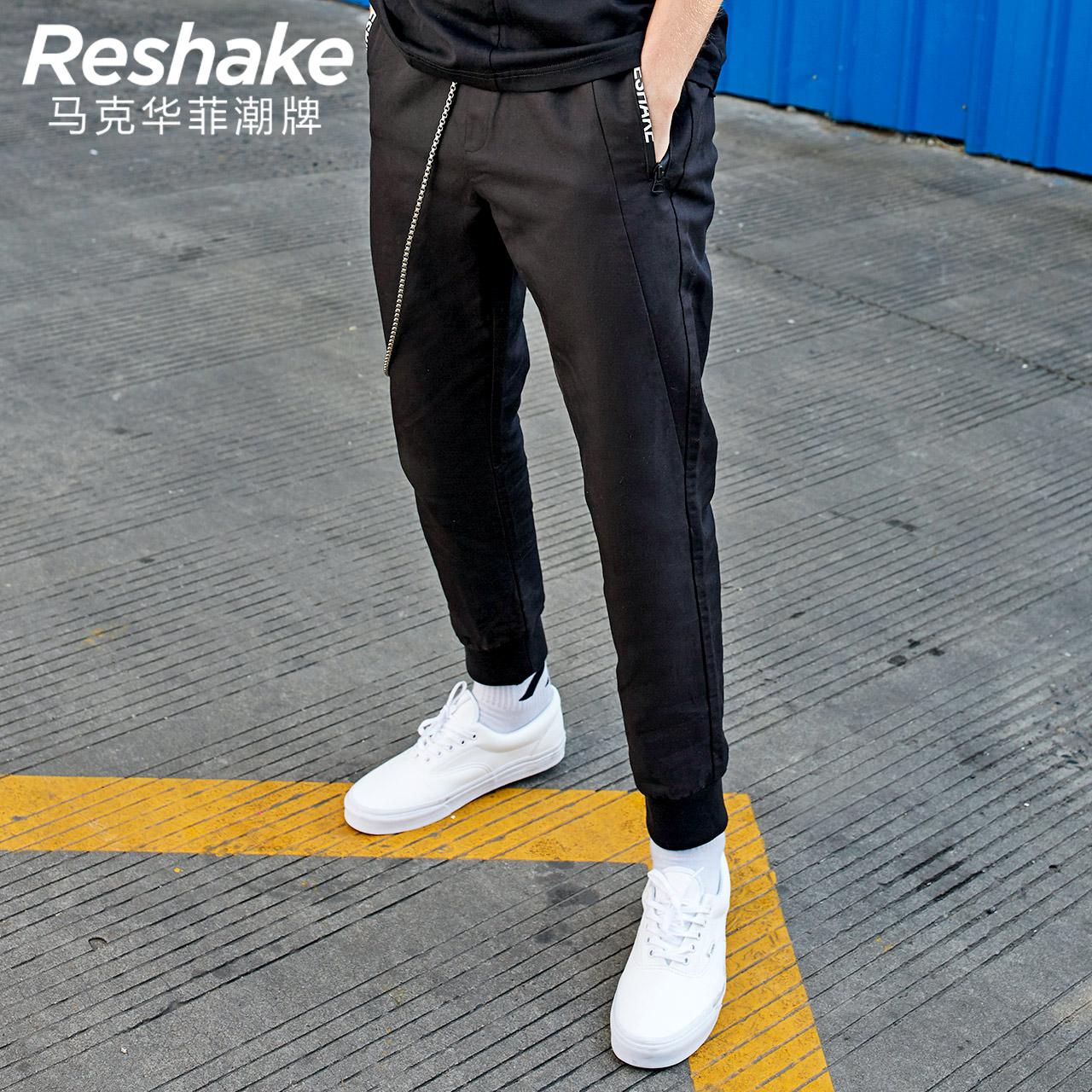 Reshake马克华菲型格18春新品男休闲长裤 运动风印花小脚裤卫裤