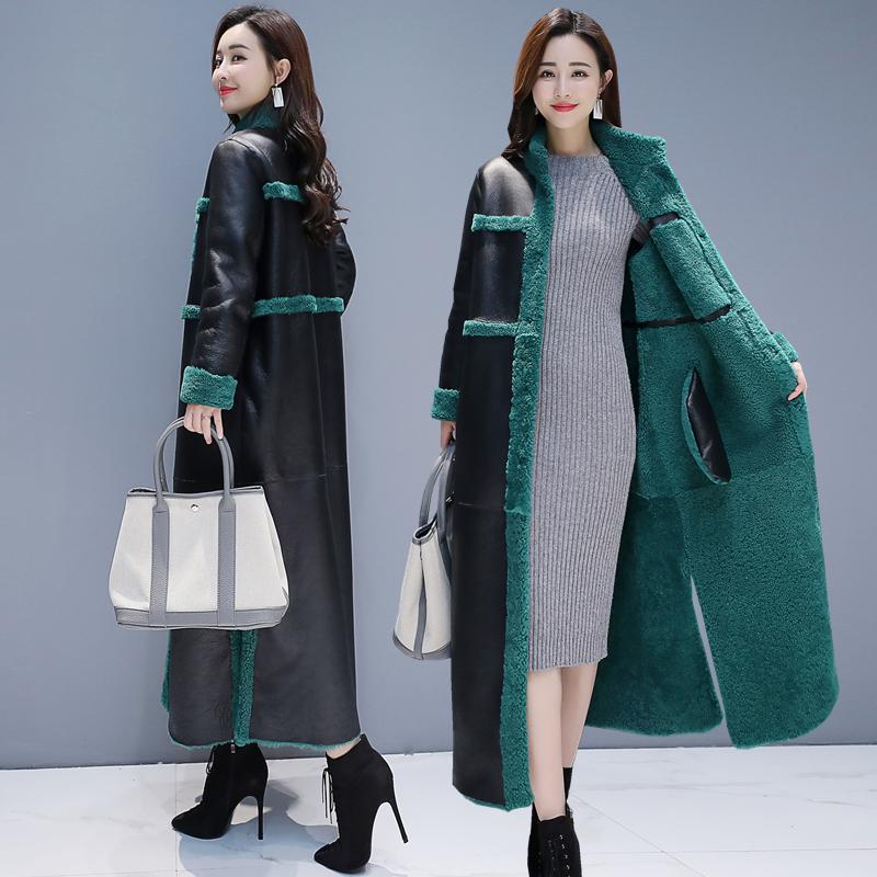 棉服女2019冬季皮大衣新款女装羊羔毛长款外套皮毛一体加厚棉衣