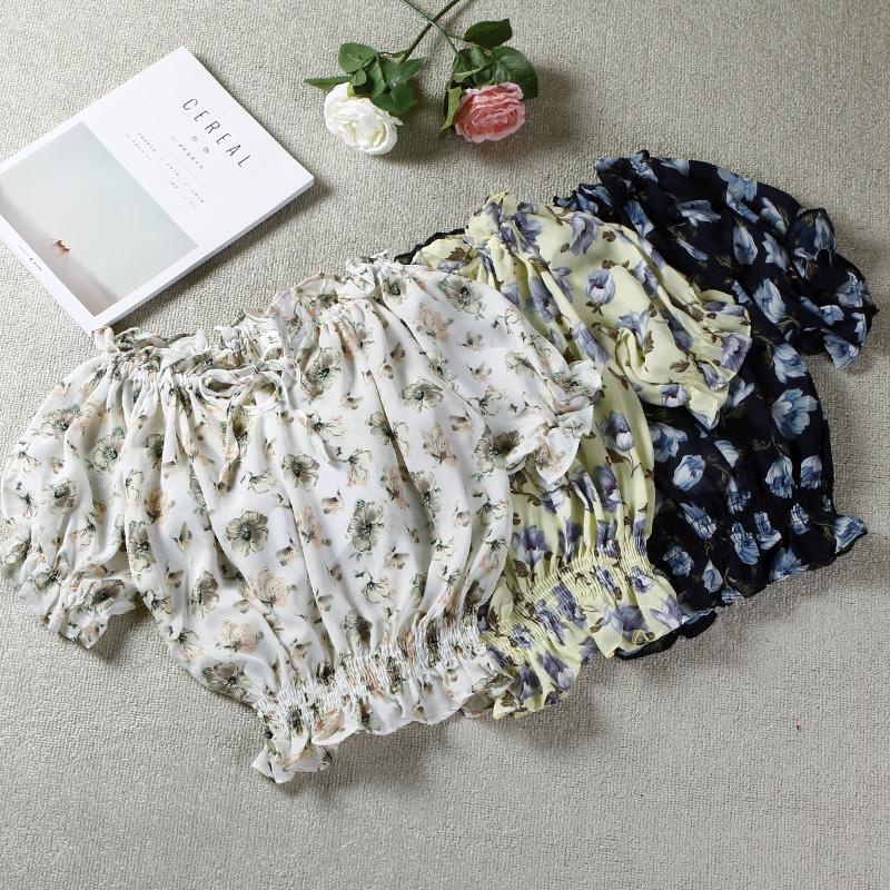 包邮外贸尾单2018夏季新款大码女装一字领印花透气短款雪纺衫上衣