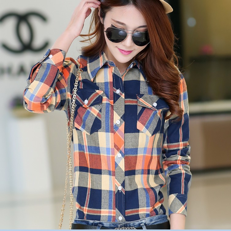 2020 large Korean Plaid Shirt womens spring and autumn long sleeve shirt loose pure cotton ground Wool Plaid coat