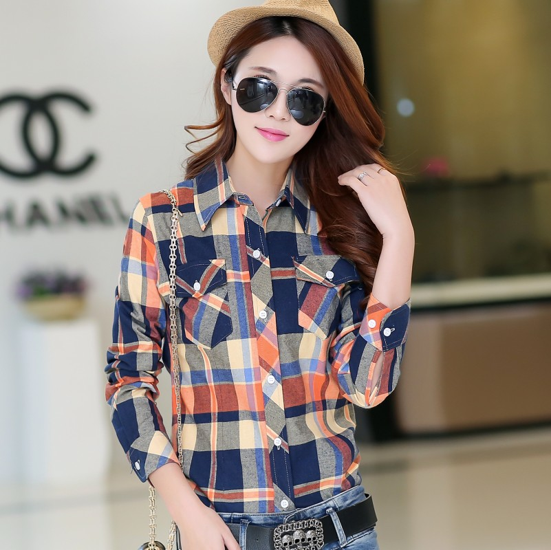 2020 spring and autumn Korean version polished Long Sleeve Plaid Shirt casual womens large pure cotton student base Plaid Shirt