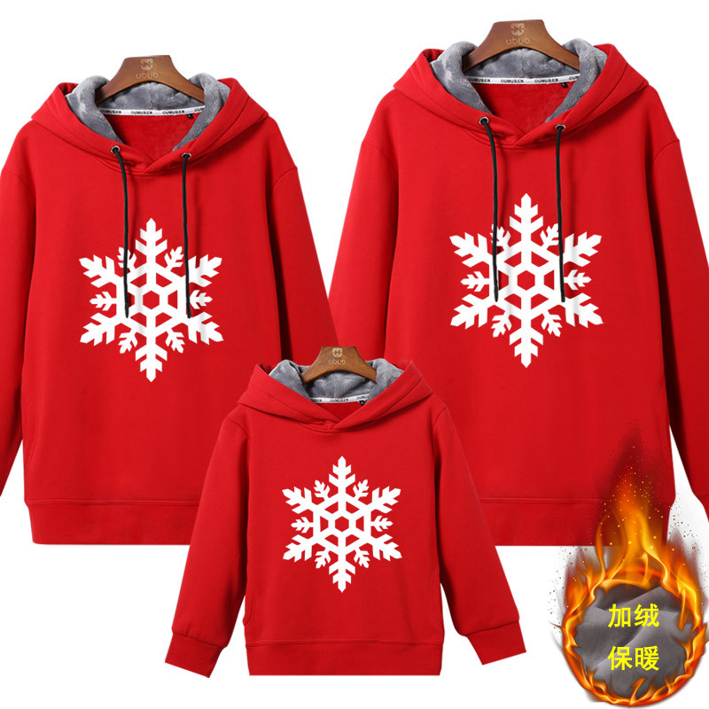 Fathers and sons clothes: winter red, christmas white snowflake Hoodie, lovely clothes, a familys 3-piece, parent-childs Velvet sweater