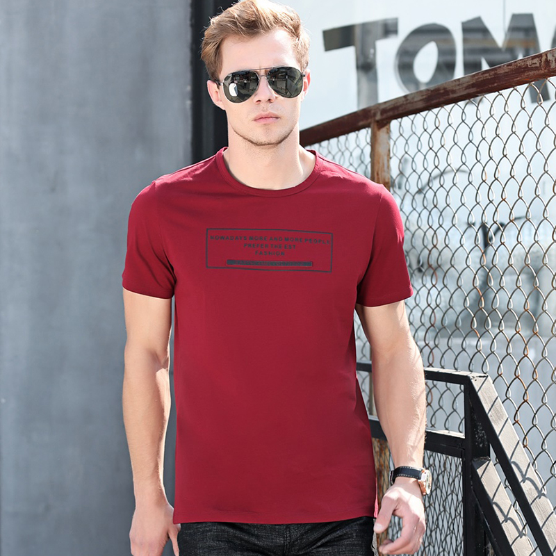 Shenzhou camel summer new mens casual loose T-shirt BLACK CREW NECK letter printed cotton T-shirt