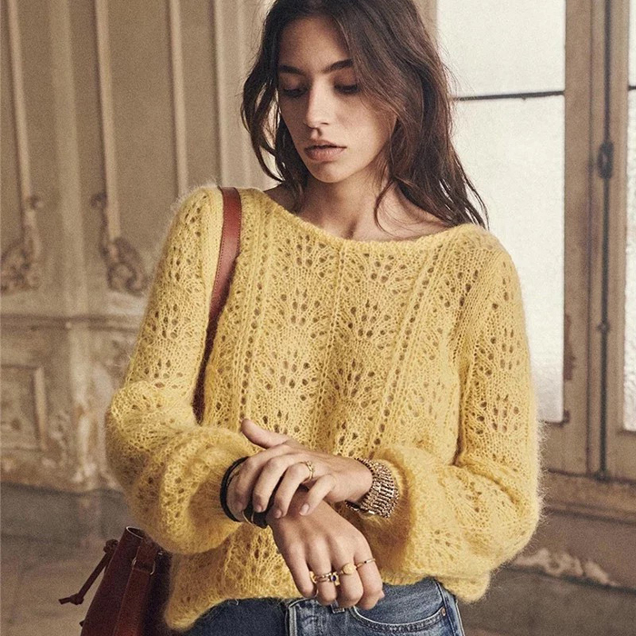 法式风圆领镂空设计宽松马海毛羊毛混纺女款套头针织衫毛衣打底衫