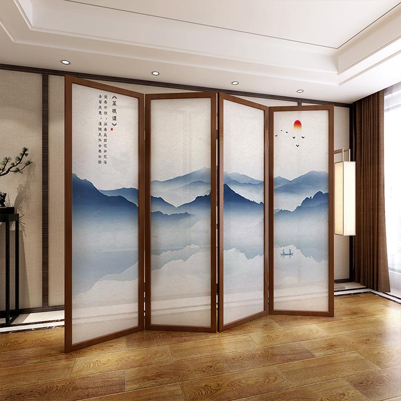 屏风隔断客厅卧室玄关中式简约现代折叠移动实木可定制折屏山水画