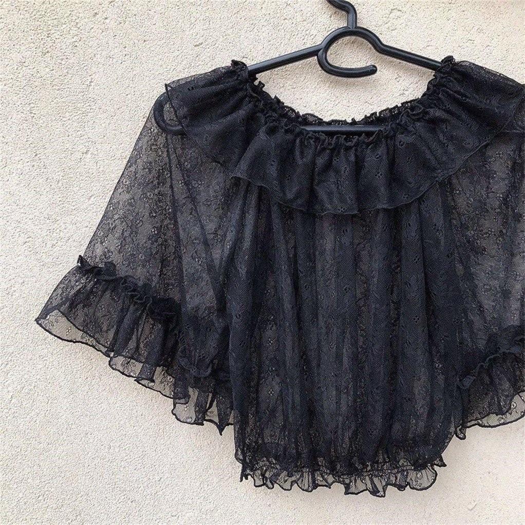 2020 Lolita lace mesh with Lolita soft girl short sleeve shirt Chiffon summer shirt