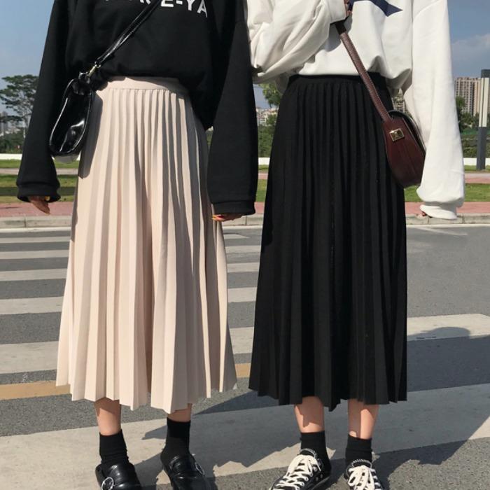 松紧腰裙子女2020新款夏季韩版学生宽松中长款百搭A字百褶半身裙