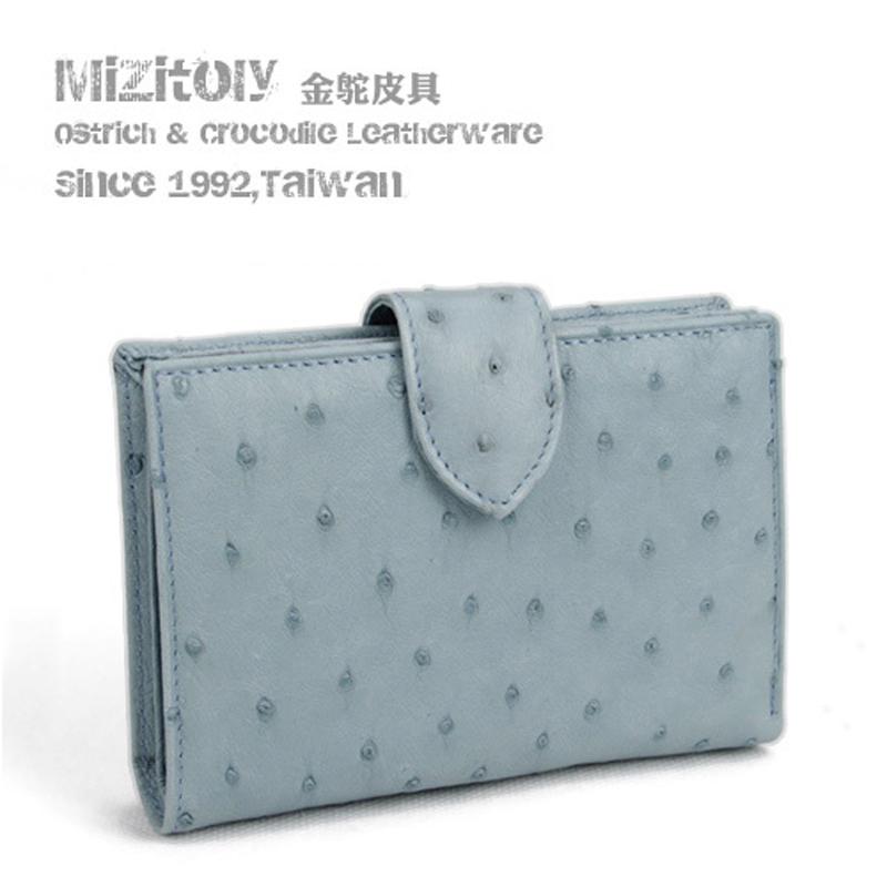 真皮时尚女式钱包抽带双面鸵鸟皮钱夹搭扣两折短款大容量加厚皮夹
