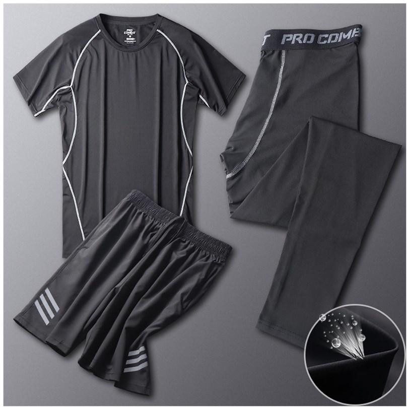 健身裤男训练高弹速干运动套装紧身冰丝篮球打底衣服房短裤跑步服