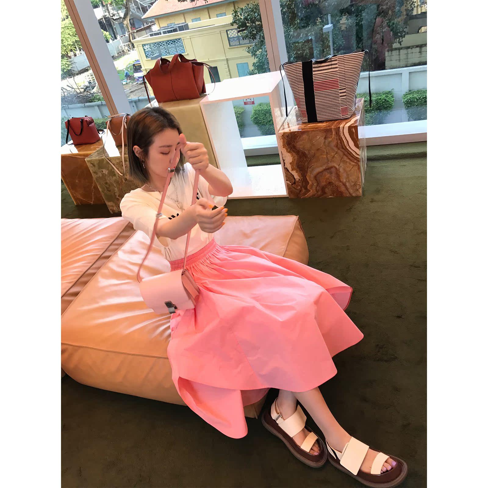 vcruan阿希哥裙子夏女2018新款不规则高腰中长款a字裙粉色半身裙