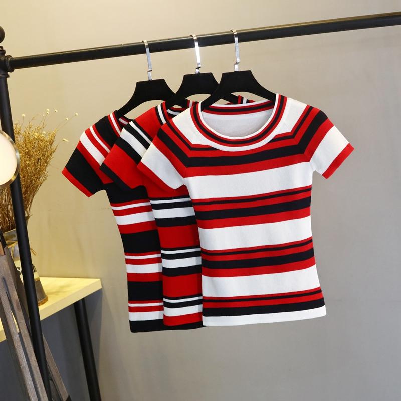 2019夏季韩版新品短款黑白条纹短袖针织T恤女圆领修身冰丝打底衫