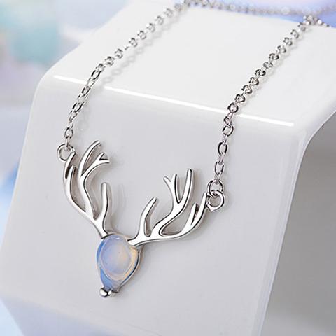一鹿有你纯银项链女月光石麋鹿角锁骨链韩版简约学生森系生日礼物