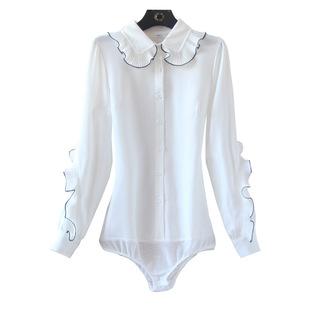 2020早春甜美花邊領雪紡襯衫女韓版優雅文藝白色連體襯衫女長袖潮