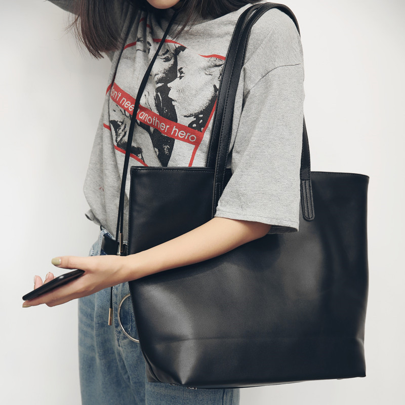 Original literature and art new style leather bag simple and versatile college style one shoulder big bag leisure bag shopping bag fashion big bag
