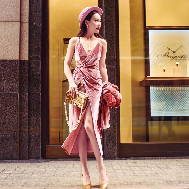 Australian fashion brand new womens Pink suspender backless skirt medium long velvet dress sexy slit dress dress