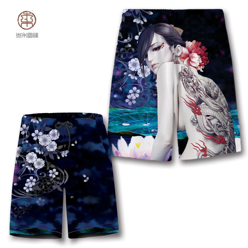 日系美女纹身图案印花宽松沙滩短裤男夏季个性社会青年五分半裤潮