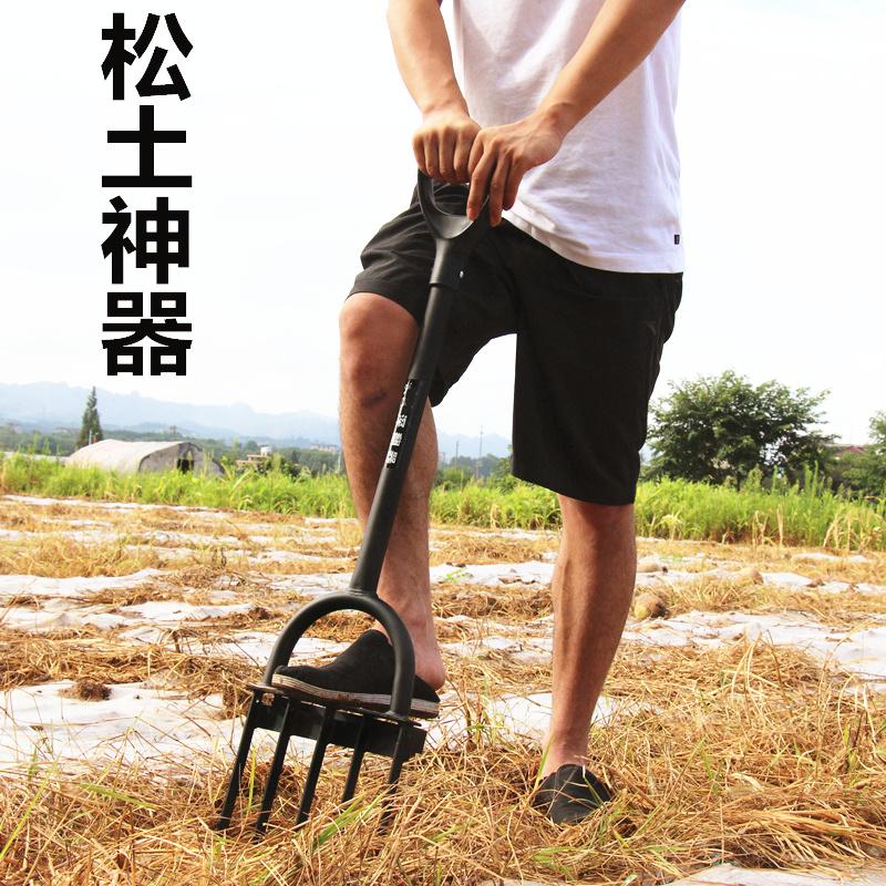 人工翻地挖土钢叉子开荒锄头户外松土耙子深翻器农用工具翻土神器