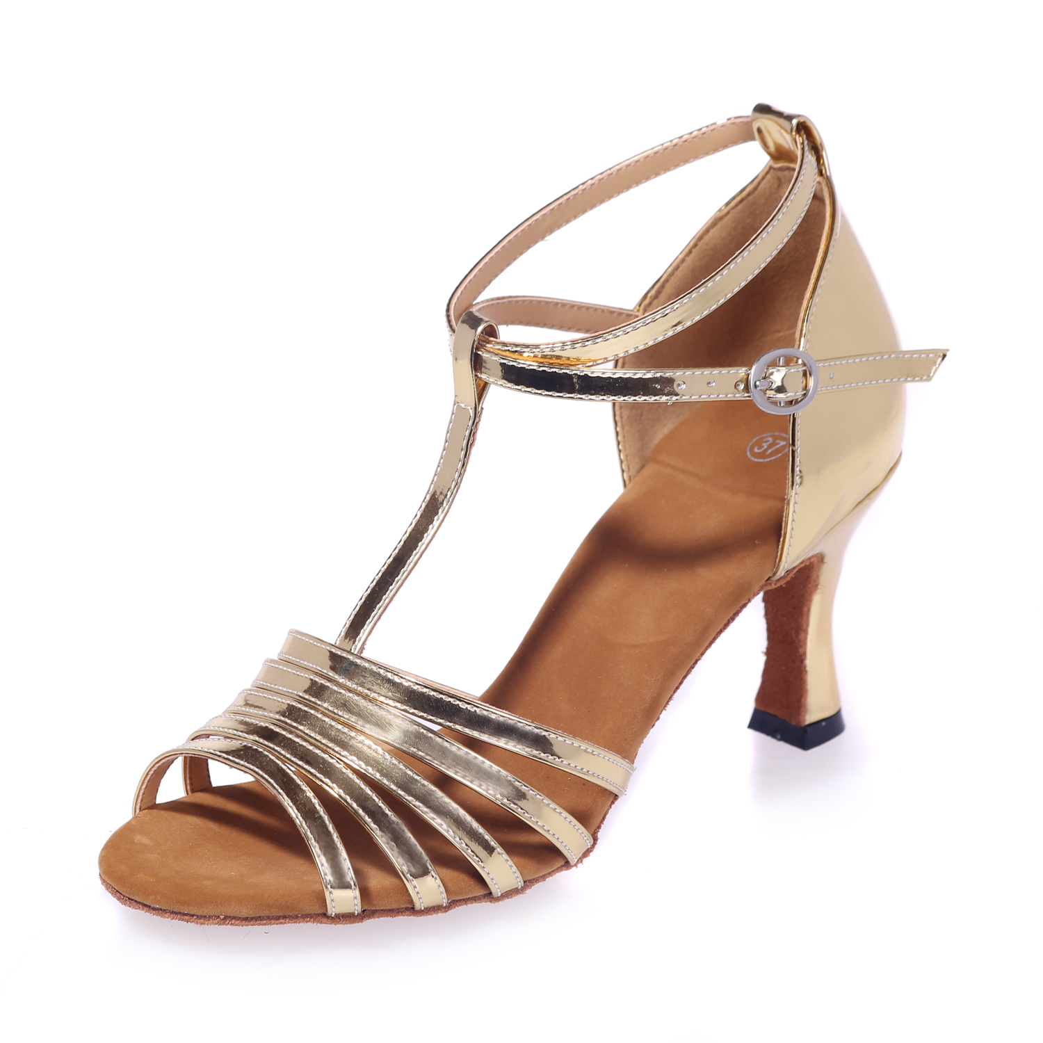 Export dance sandals metal feeling gold silver strap ankle strap leather soft sole Latin Womens shoes chachasha