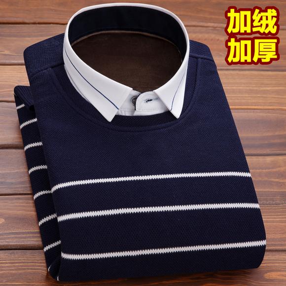冬季加绒加厚保暖衬衫男士长袖假两件套头针织衫毛衣韩版休闲衬衣