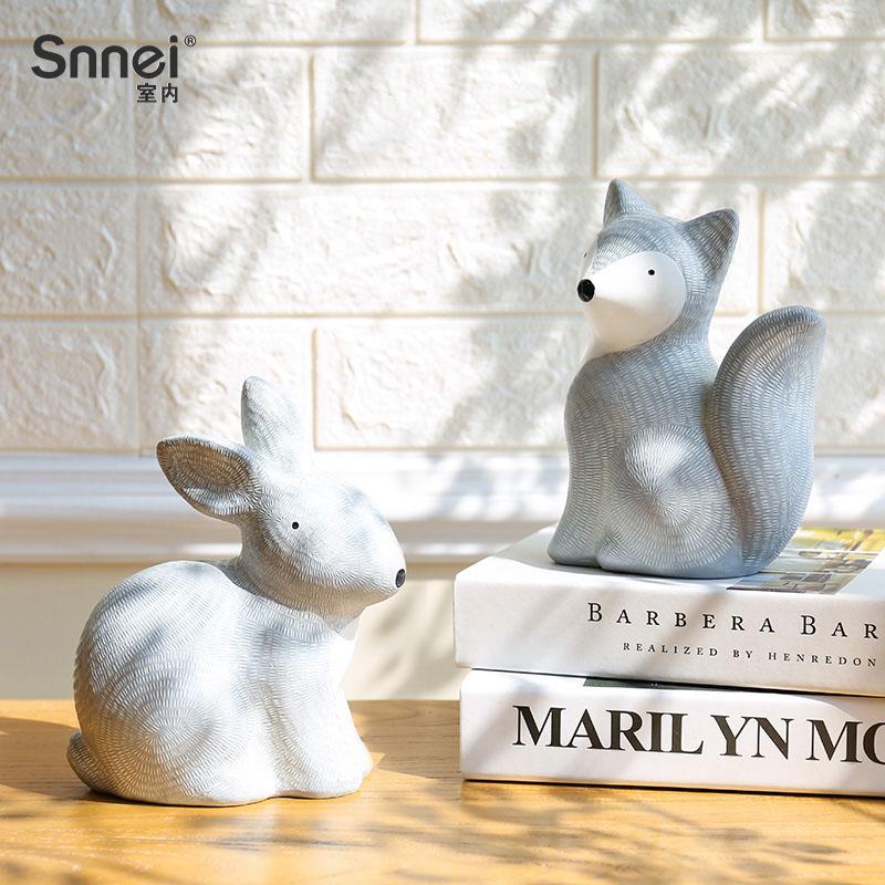 创意家居树脂工艺品 狐狸兔子造型小动物摆件 客厅电视柜装饰品