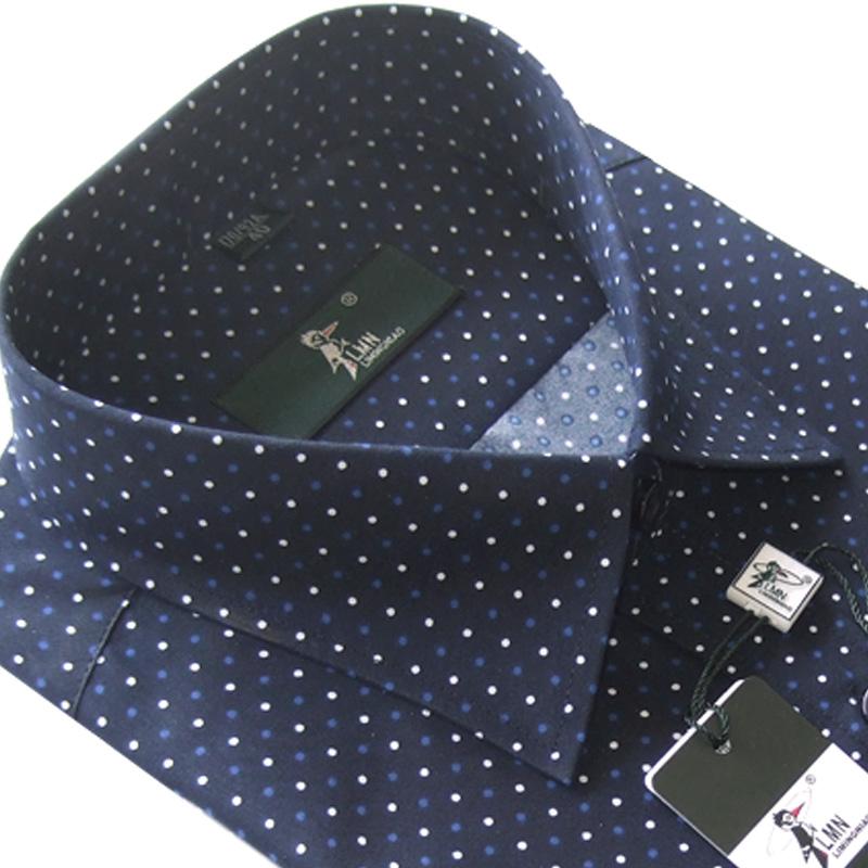 秋款方领衬衫法国啄木鸟长袖衬衫男士商务休闲棉质印花圆点男衬衣