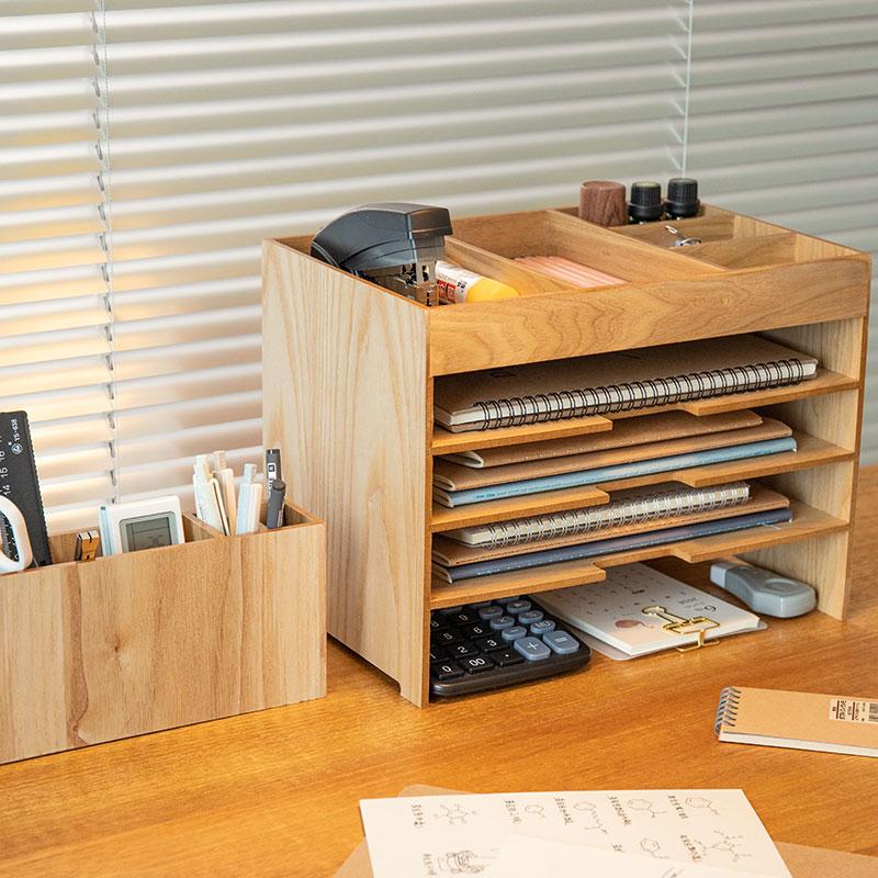 日式木质桌面收纳盒多层插画师a4纸张整理cg画纸整理Wacom 数位板
