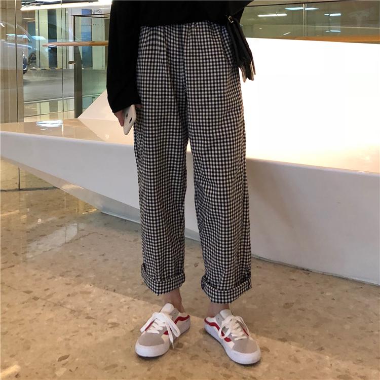 女装2018新款韩版学生百搭口袋松紧腰黑白格子阔腿裤高腰长裤子