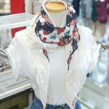 South Koreas new 2020 printed scarves womens spring and autumn decorative scarves triangle scarves fashion temperament thin gauze