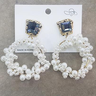 Net red Earrings Korean Earrings zircon Rhinestone Earrings femininity Mori super fairy long pearl ring earrings