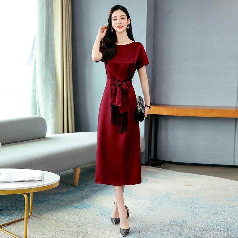 Temperament side split long sleeve round neck short sleeve skirt lace up waist dress one-piece dress jujube / grey ji02016